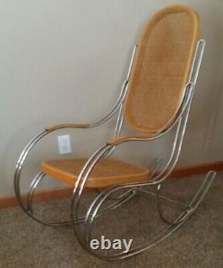 Siège Et Dossier En Rotin Vintage Italien MID Century Chrome Metal Rocking Chair
