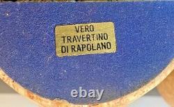 Signé F Mannelli Signa Vtg MID Century Modern Travertine Marble Bookend Italie