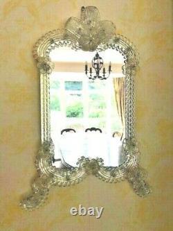 Stunning Large 49cm Vintage Vénitien Murano Or Poussière Miroir Mur En Verre
