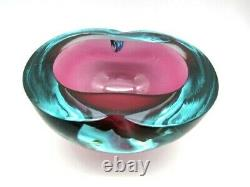 Stupéfiant XL Bleu Aqueux Et Rose Murano Sommerso Art Verre Plat Geode Bol