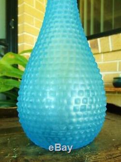 Super Rare Vintage Givré Blue Diamond Italienne Art Glass Genie Bottle Decanter