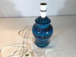 Superbe Lampe De Table Bleue Bitossi Rimini. Pièce De Qualité Aldo Londi. État De La Menthe
