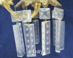 Supports De Bougies Hollywood Regency Pair Crystal Prisms Marbre Moulage Lourd En Métal
