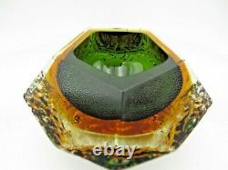 Texture Et Facettes Mandruzzato Murano Art Verre Sommerso Bol Vert Dans L'ambre