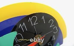 Très Rare MID Century Coloré Italien Memphis Postmodern Table Clock 1980 Art