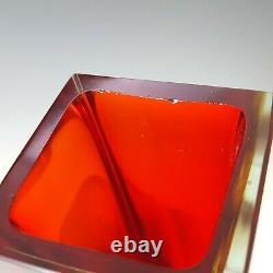 Vase En Verre À Face Rouge Et Ambre De Murano