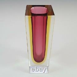 Vase En Verre À Faces Rose Et Ambre De Murano