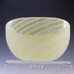 Venini Murano Yellow & White Glass Zanfirico Bowl Par Carlo Scarpa