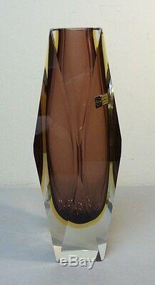 Vetreria Murano Sommerso Au Milieu Du Siècle Art Moderne Verre Facettes 3 Couches 12 Vase