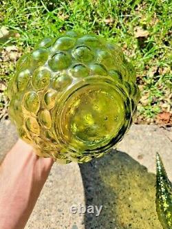 Vintage 16,5 MCM Empoli Italie Genie Bouteille Decanter Bubble De Verre D'art Vert