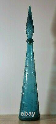 Vintage 1960 Bleu Empoli Zodiac Optic Genie Bouteille Décanteur Avec Haut De Hobnail
