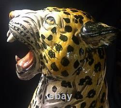 Vintage 1960 Italie Hollywood Regency Art Poterie Majolica Leopard Cheeta Large