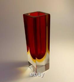 Vintage Années 1960 Mandruzzato Multi Rich Sommerso Murano Faceted Art Glass Vase