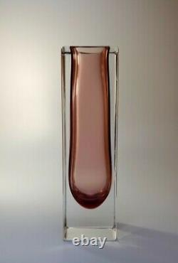 Vintage Années 70 Alessandro Mandruzzato Rose Sommerso Murano Faceted Art Glass Vase