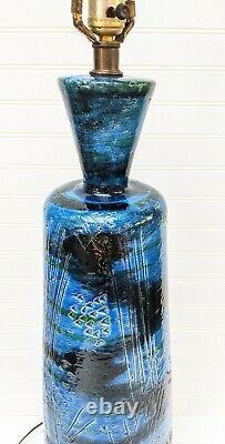 Vintage Bitossi Céramique Italienne Grande Lampe De Table Rimini Blu Aldo Londi MCM Bleu