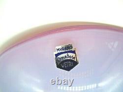 Vintage Cenedese Signed + Étiquette Murano Boîte Rose Opaline Bol En Verre Opalescent