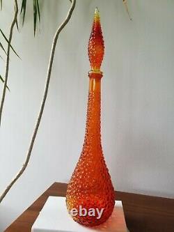 Vintage Empoli Bubble Pattern Amberina Orange Genie Bottle Decanter & Stopper