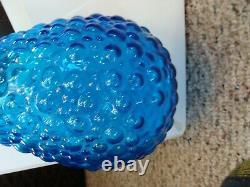 Vintage Empoli Glass Genie Bottle Decanter Blue Bubble Glass Italien MCM