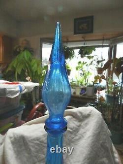 Vintage Empoli Italie Genie Bottle Blue Diamond Pattern Withstopper/family Piece