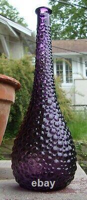 Vintage Empoli Purple Prun Hobbail Verre Génie Bouteille Décanter Vase Pas De Bouchon