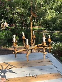 Vintage Faux Bamboo Tole Chandelier Gilt Chinoiserie Italienne Hollywood Regency
