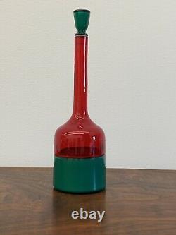 Vintage Gio Ponti Venini Incalmo Art Glass Bottle Red & Green Withstopper Murano