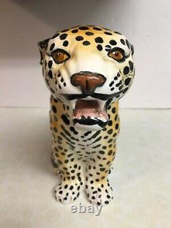 Vintage Giovanni Ronzan Made In Italy Ceramic / Porcelain Leopard Figurine