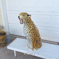 Vintage Grand Céramique Italienne Cheetah Peint À La Main Vers 1970