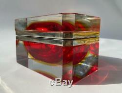 Vintage Italian Murano Sommerso Cranberry Art Glass Dresser Cercueil Boîte À Bijoux