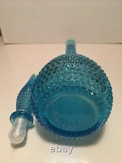Vintage Italien Empoli Art Glass Genie Bottle Pale Blue Turquoise Diamond Design