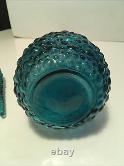 Vintage Italien Empoli Art Glass Genie Bouteille Teal Dark Turquoise Hobnail Design
