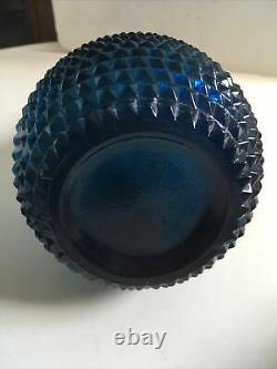Vintage Italien Empoli Art Verre Génie Bouteille 60s Teal Blue Diamond Point Design
