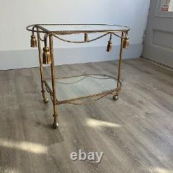 Vintage Italien Gilt Tole Rope Tassle Bar Cart Hollywood Regency