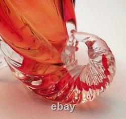 Vintage Italien Murano Verre Cornucopia Vase Vibrant Orange MID Siècle Moderne