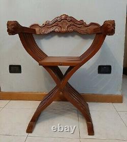 Vintage Italien Pliage Chaise En Bois Savonarola Lion Heads Main Sculpté Noyer Maison