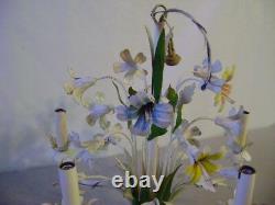 Vintage Italien Tole Chandelier Fleurs Florales MID Century Moderne 5 Lumières