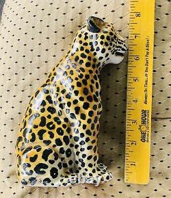 Vintage Italienne MCM Céramique Cuite Leopard Cheetah Statue Figure Italie 8