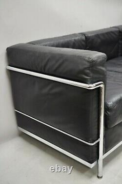 Vintage Le Corbusier Lc2 Style En Cuir Noir MID Century 3 Siège Canapé Chrome