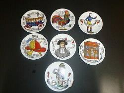 Vintage MCM Fornasetti Italie Set De 7 Coasters American Antiques Motif