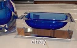 Vintage MCM Mandruzzato Murano Verre Ashtray Et Plus Léger Cobalt Clair Excellent