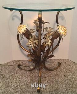 Vintage MID Century Hollywood Regency Lighted Tole Gilt Table En Métal Italie Kogl