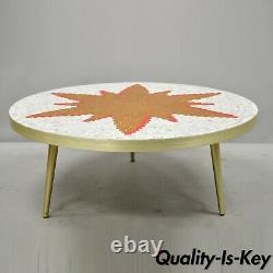 Vintage MID Century Italien Moderne Orange Sun Tile Top Table Basse