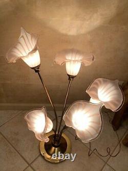 Vintage MID Century Italien Murano Art Glass Soufflé À La Main Calla Lilies Lampe De Table