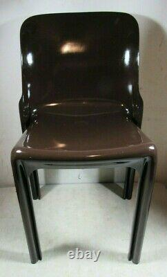 Vintage MID Century Modern Artemide Selene Vico Magistretti Brown Chair Italie