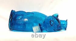 Vintage MID Century Modern Empoli Aqua Teal Blue Glass Cat Bouteille Décanter 14