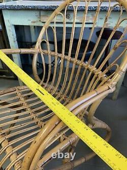 Vintage MID Century Modern Franco Albini Era Bamboo Rattan Chaise