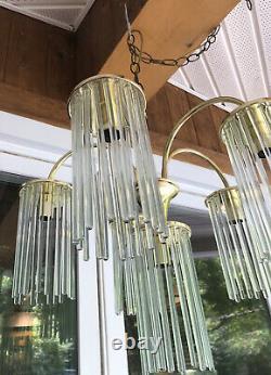 Vintage MID Century Modern Glass Tube Rod Chandelier Gaetano Sciolari 6 Lumière
