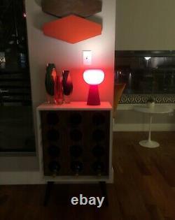 Vintage MID Century Moderne Cased Italien Oxblood Red Glass Mushroom Orb Lamp
