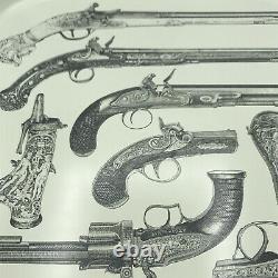 Vintage MID Century Moderne Des Années 1960 Italien Piero Fornasetti Pistol Gun Metal Tray