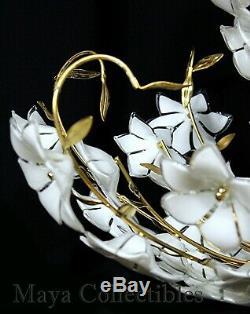 Vintage Mi-siècle Italien Murano Fleur Venini Art-verre Lustre En Laiton Doré